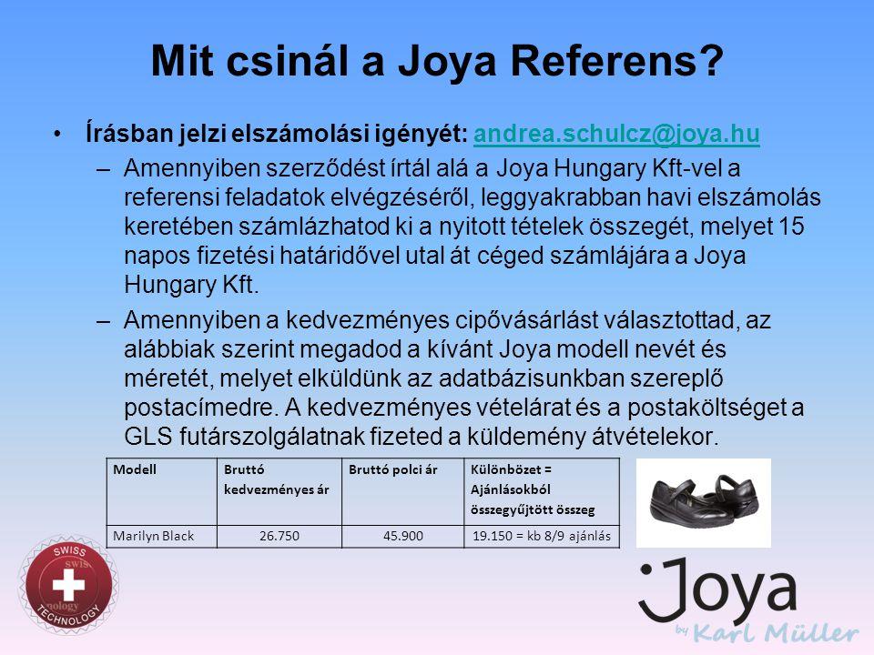 Mit csinál a Joya Referens? •Írásban jelzi elszámolási igényét: andrea.schulcz@joya.huandrea.schulcz@joya.hu –Amennyiben szerződést írtál alá a Joya H