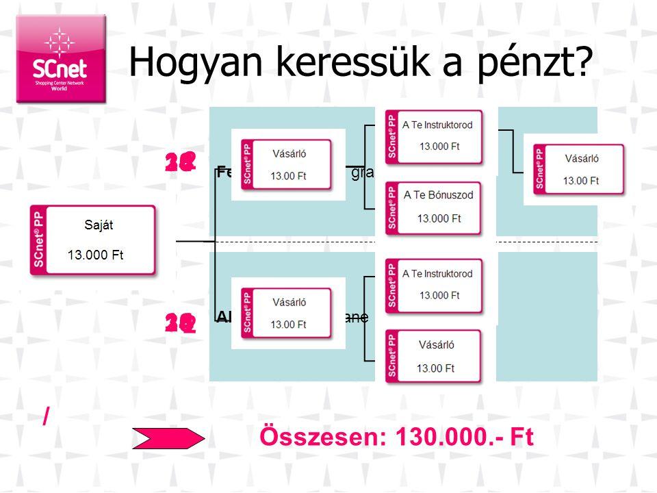SCnetwork ® a gyakorlatban 3. •A fennmaradó 13.000.- Ft a bináris fában lesz elhelyezve •Ez a pozíci ó további pénz megkeresésére ad lehetőséget. •TP