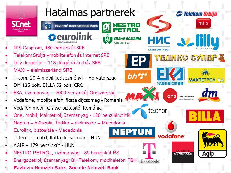 •NIS Gasprom, 480 benzinkút SRB •Telekom Srbija –mobiltelefon és internet SRB •Lilly drogerije – 118 drogéria áruház SRB •MAXI – élelmiszerlánc SRB •T-com, 20% mobil kedvezmény.