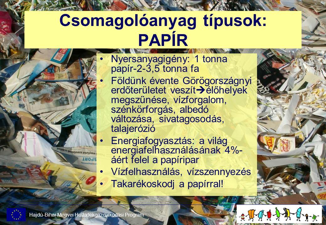 Csomagolóanyag típusok: PAPÍR •Nyersanyagigény: 1 tonna papír-2-3,5 tonna fa •Földünk évente Görögországnyi erdőterületet veszít  élőhelyek megszűnése, vízforgalom, szénkörforgás, albedó változása, sivatagosodás, talajerózió •Energiafogyasztás: a világ energiafelhasználásának 4%- áért felel a papíripar •Vízfelhasználás, vízszennyezés •Takarékoskodj a papírral.