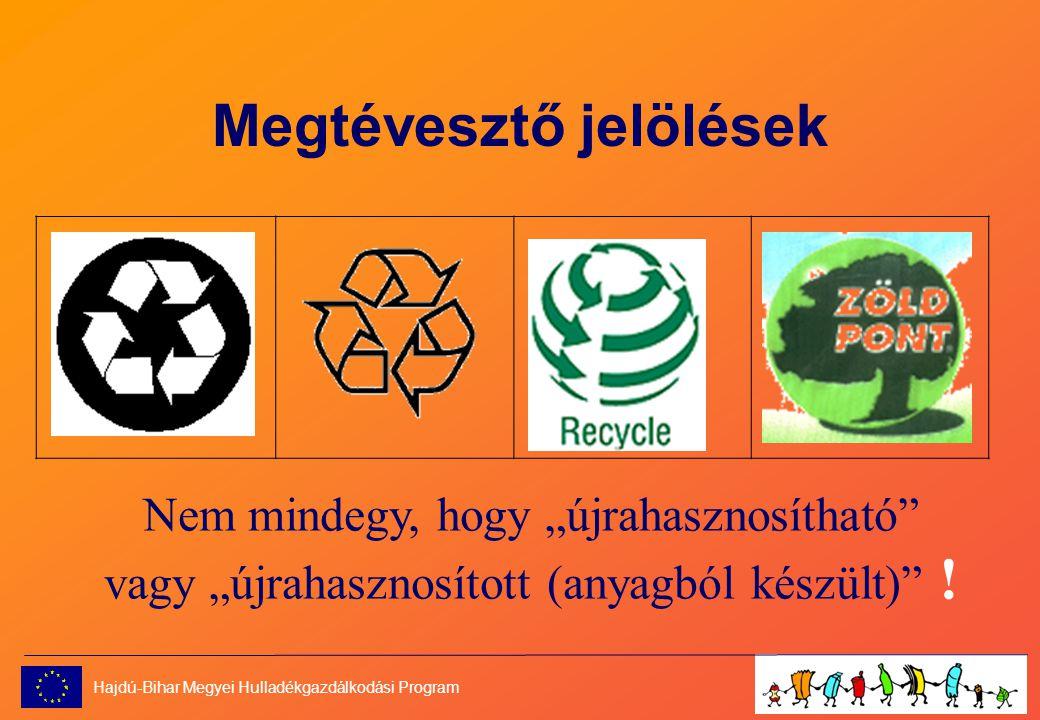 """Megtévesztő jelölések Nem mindegy, hogy """"újrahasznosítható vagy """"újrahasznosított (anyagból készült) ."""