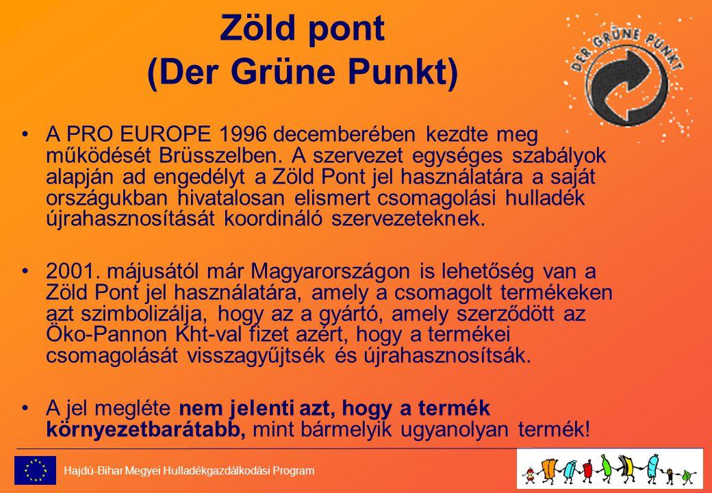 Zöld pont (Der Grüne Punkt) •A PRO EUROPE 1996 decemberében kezdte meg működését Brüsszelben.