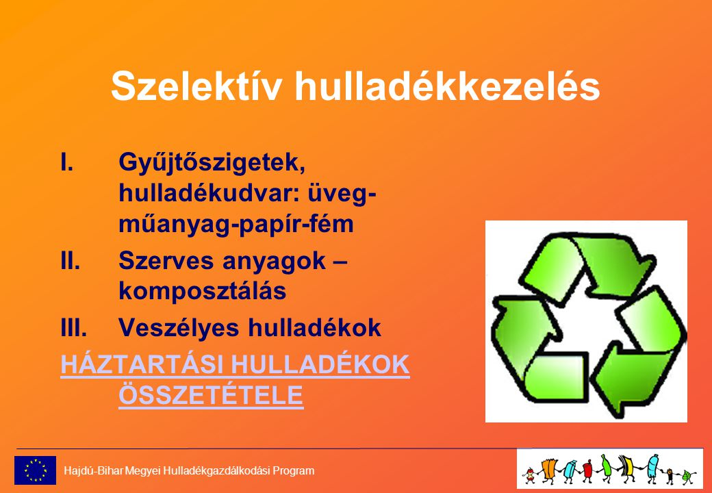 Szelektív hulladékkezelés I.Gyűjtőszigetek, hulladékudvar: üveg- műanyag-papír-fém II.Szerves anyagok – komposztálás III.Veszélyes hulladékok HÁZTARTÁSI HULLADÉKOK ÖSSZETÉTELE Hajdú-Bihar Megyei Hulladékgazdálkodási Program
