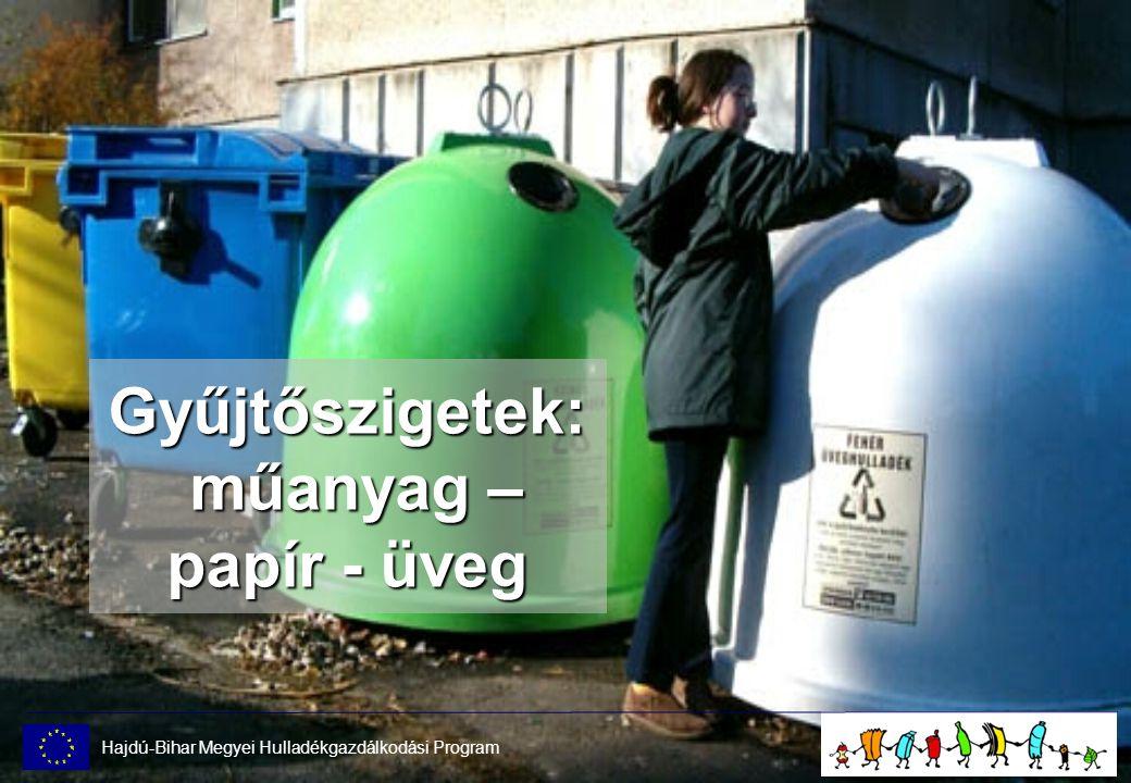 Gyűjtőszigetek: műanyag – papír - üveg Hajdú-Bihar Megyei Hulladékgazdálkodási Program