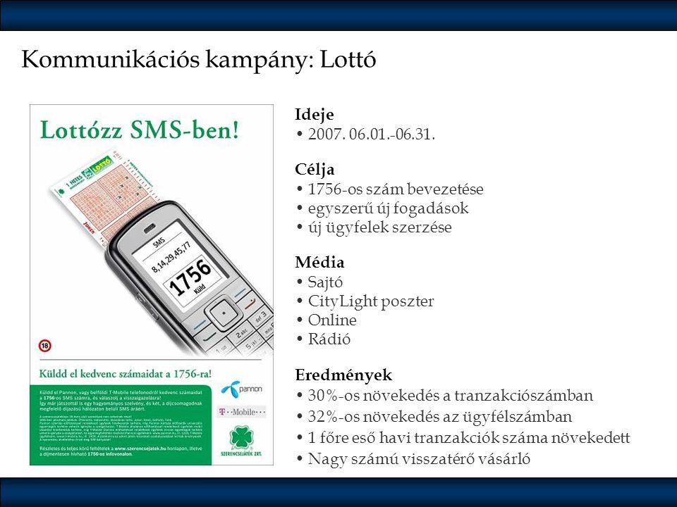 Kommunikációs kampány: Lottó Ideje •2007. 06.01.-06.31. Célja •1756-os szám bevezetése •egyszerű új fogadások •új ügyfelek szerzése Média •Sajtó •City