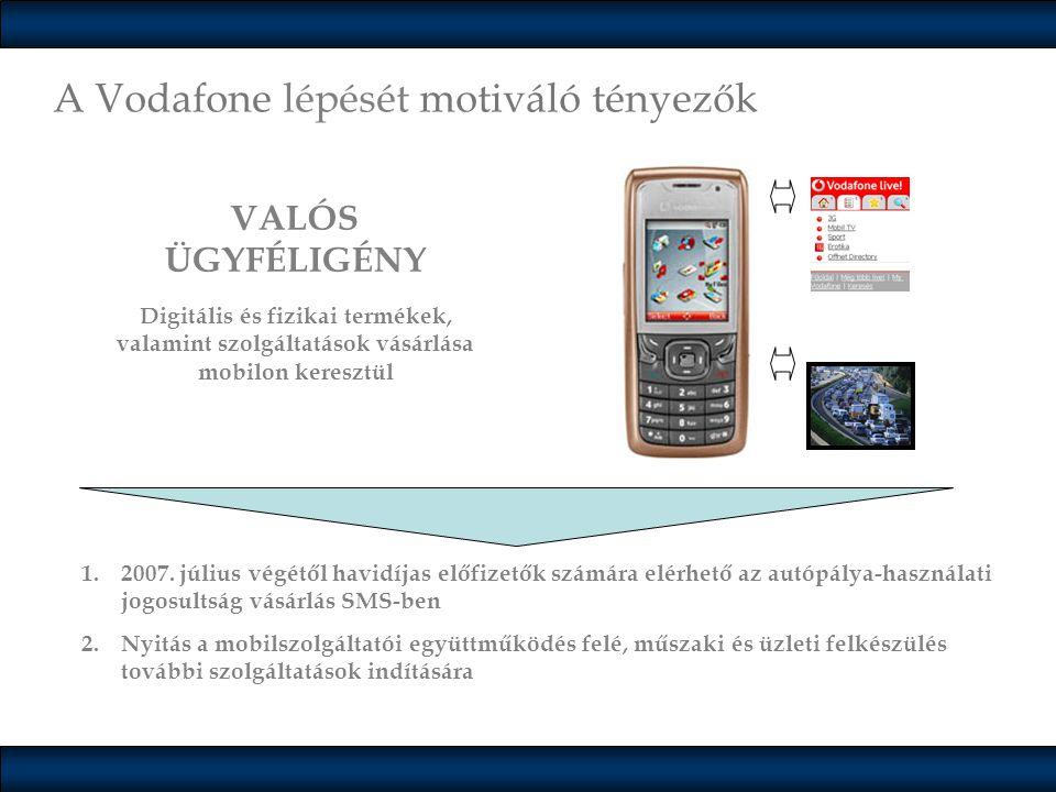 A Vodafone lépését motiváló tényezők VALÓS ÜGYFÉLIGÉNY Digitális és fizikai termékek, valamint szolgáltatások vásárlása mobilon keresztül 1.2007. júli
