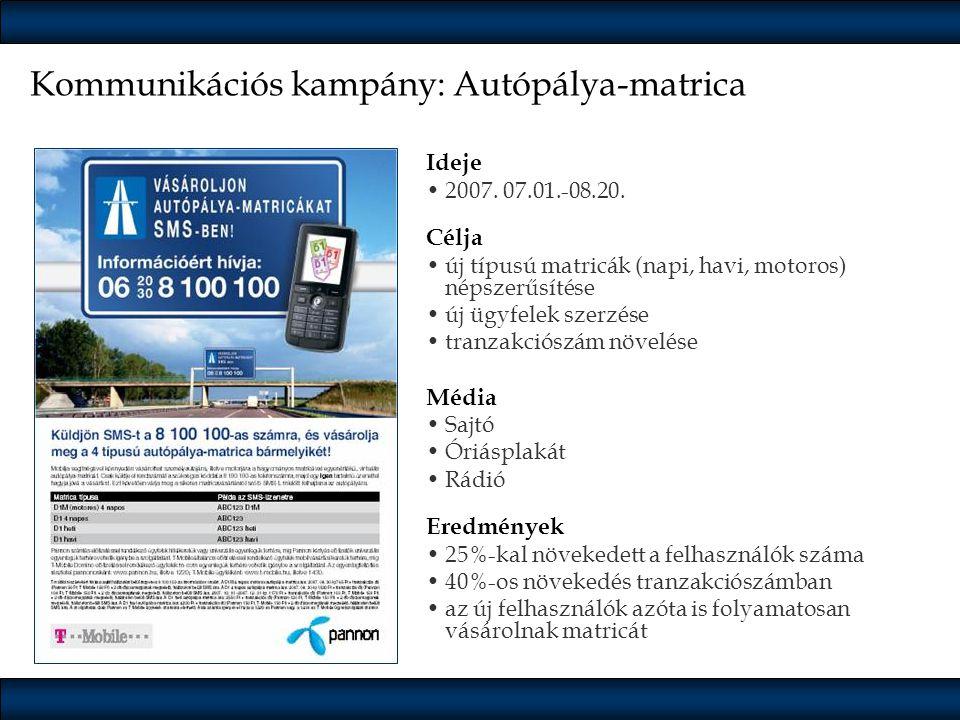 Kommunikációs kampány: Autópálya-matrica Ideje •2007. 07.01.-08.20. Célja •új típusú matricák (napi, havi, motoros) népszerűsítése •új ügyfelek szerzé
