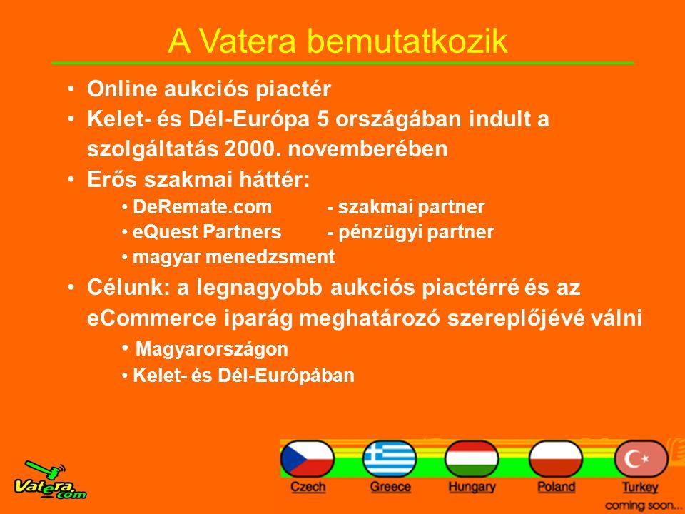 A Vatera bemutatkozik •Online aukciós piactér •Kelet- és Dél-Európa 5 országában indult a szolgáltatás 2000.