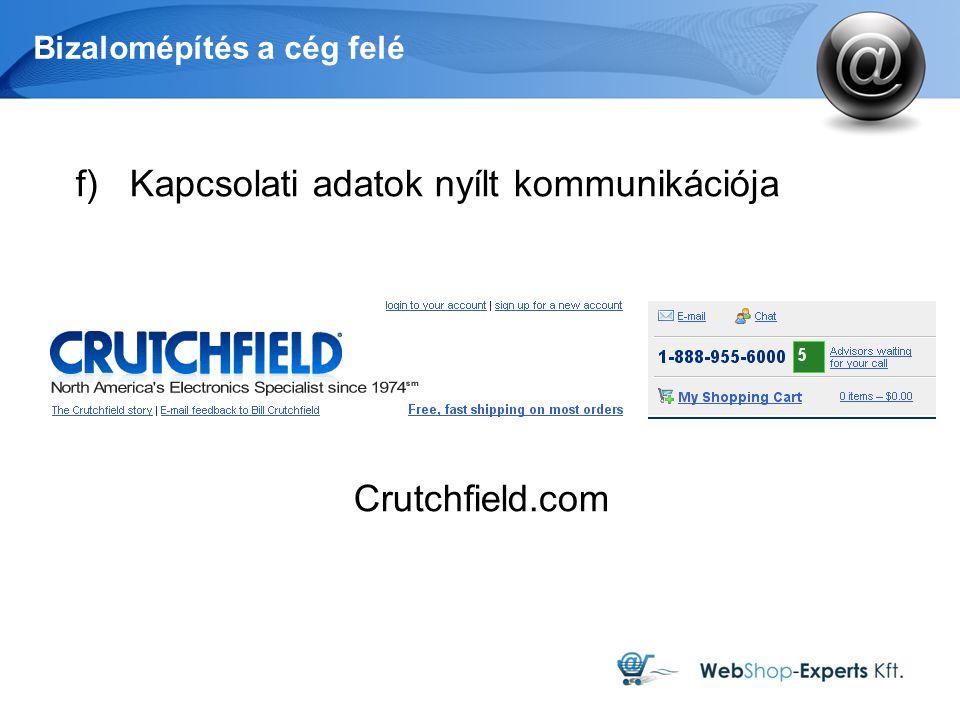 Bizalomépítés a cég felé f)Kapcsolati adatok nyílt kommunikációja Crutchfield.com
