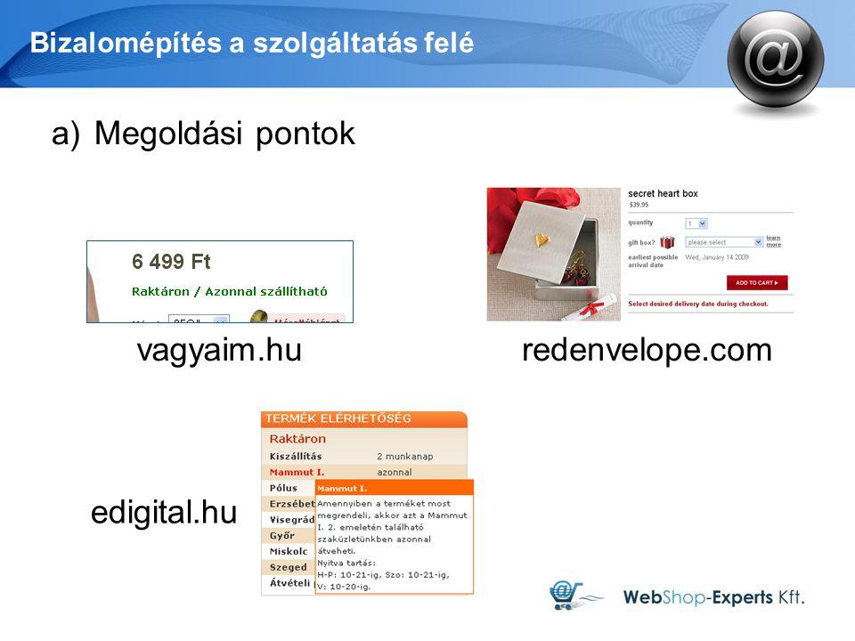 Bizalomépítés a szolgáltatás felé a)Megoldási pontok edigital.hu vagyaim.huredenvelope.com