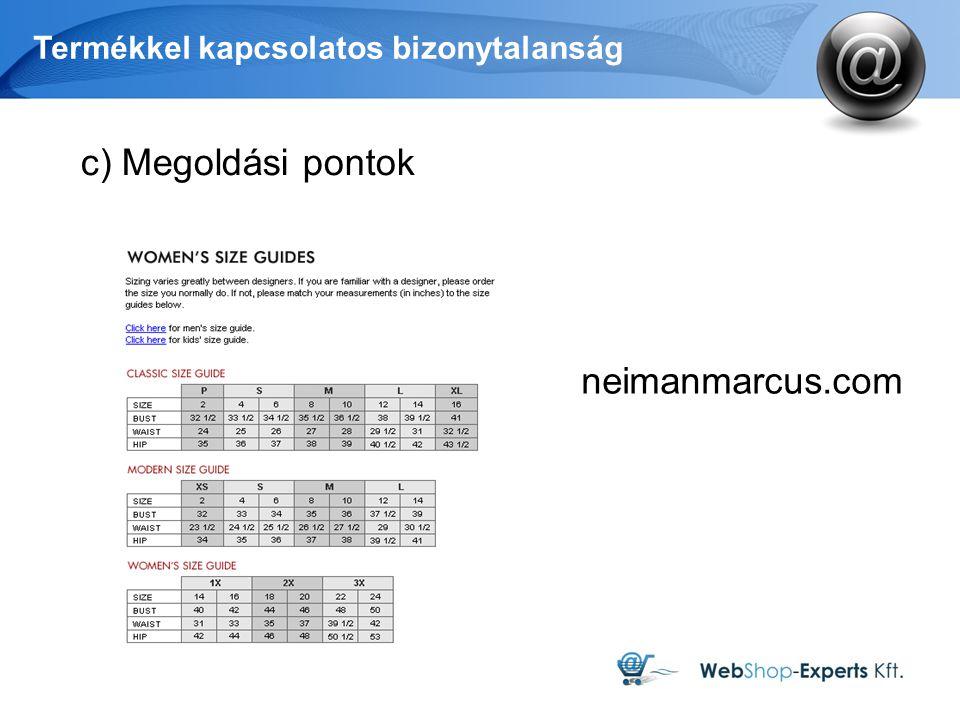 Termékkel kapcsolatos bizonytalanság neimanmarcus.com c) Megoldási pontok