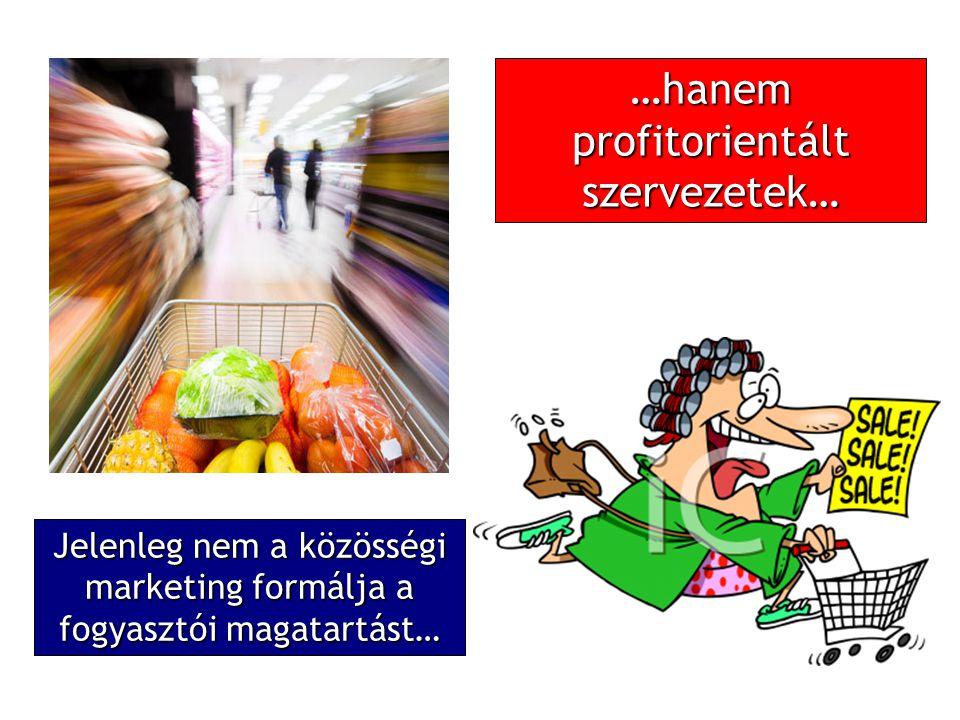 …hanem profitorientált szervezetek… Jelenleg nem a közösségi marketing formálja a fogyasztói magatartást…