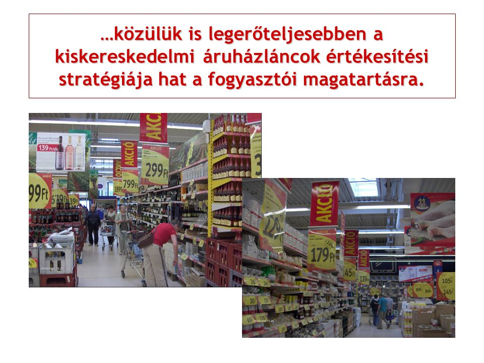 …közülük is legerőteljesebben a kiskereskedelmi áruházláncok értékesítési stratégiája hat a fogyasztói magatartásra.
