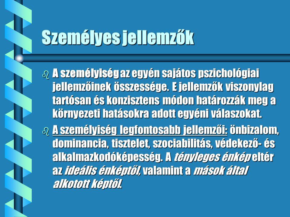 Személyes jellemzők b A személyiség az egyén sajátos pszichológiai jellemzőinek összessége. E jellemzők viszonylag tartósan és konzisztens módon határ