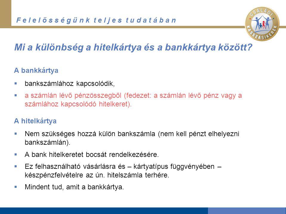 F e l e l ő s s é g ü n k t e l j e s t u d a t á b a n A hitelkártya használata Forrás: http://www.pszaf.hu/fogyasztoknak/bankkartyak/hitelkartyak2/hitelkartyak.html az elszámolás időpontja (pl.: április 30.) a türelmi időszak vége (pl.: május 15.) Amennyiben ebben az időszakban a két vásárlás és a készpénzfelvétel összege is visszafizetésre kerül, a vásárlások összege után a bank nem számít fel kamatot.