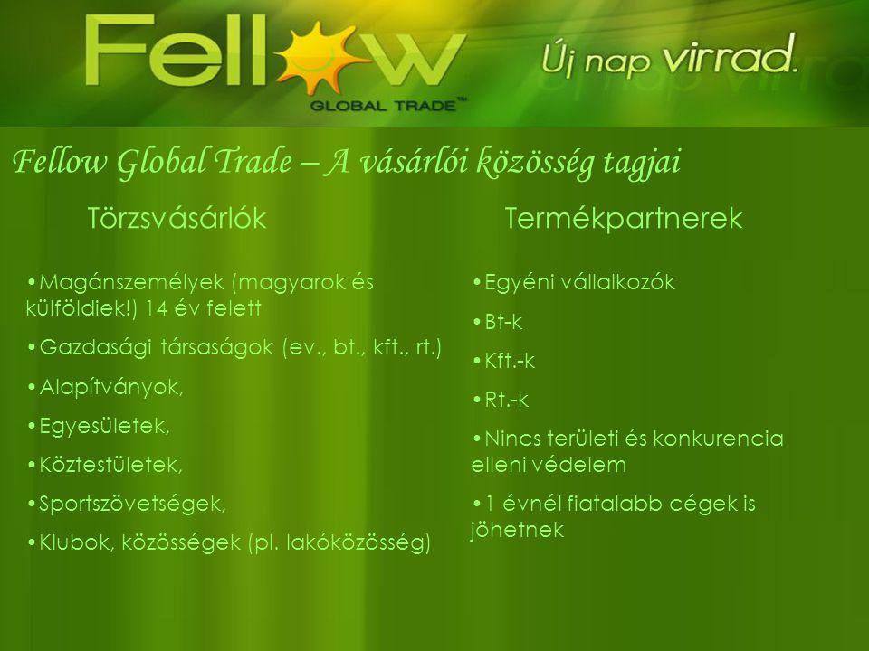 Fellow Global Trade – A vásárlói közösség tagjai •Magánszemélyek (magyarok és külföldiek!) 14 év felett •Gazdasági társaságok (ev., bt., kft., rt.) •A