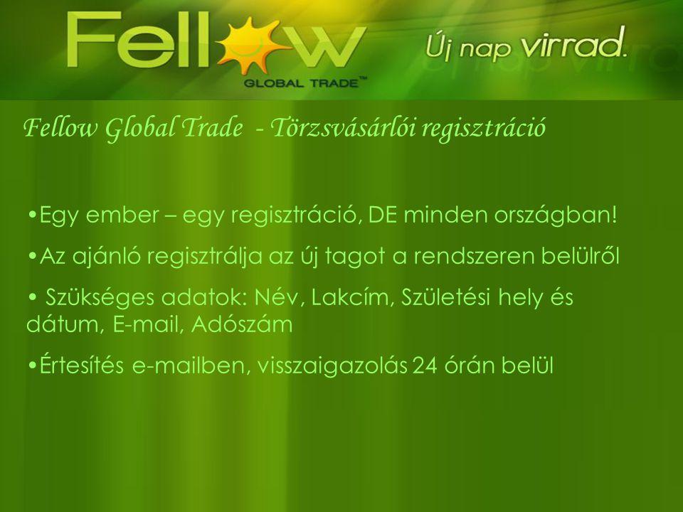 Fellow Global Trade - Törzsvásárlói regisztráció •Egy ember – egy regisztráció, DE minden országban! •Az ajánló regisztrálja az új tagot a rendszeren