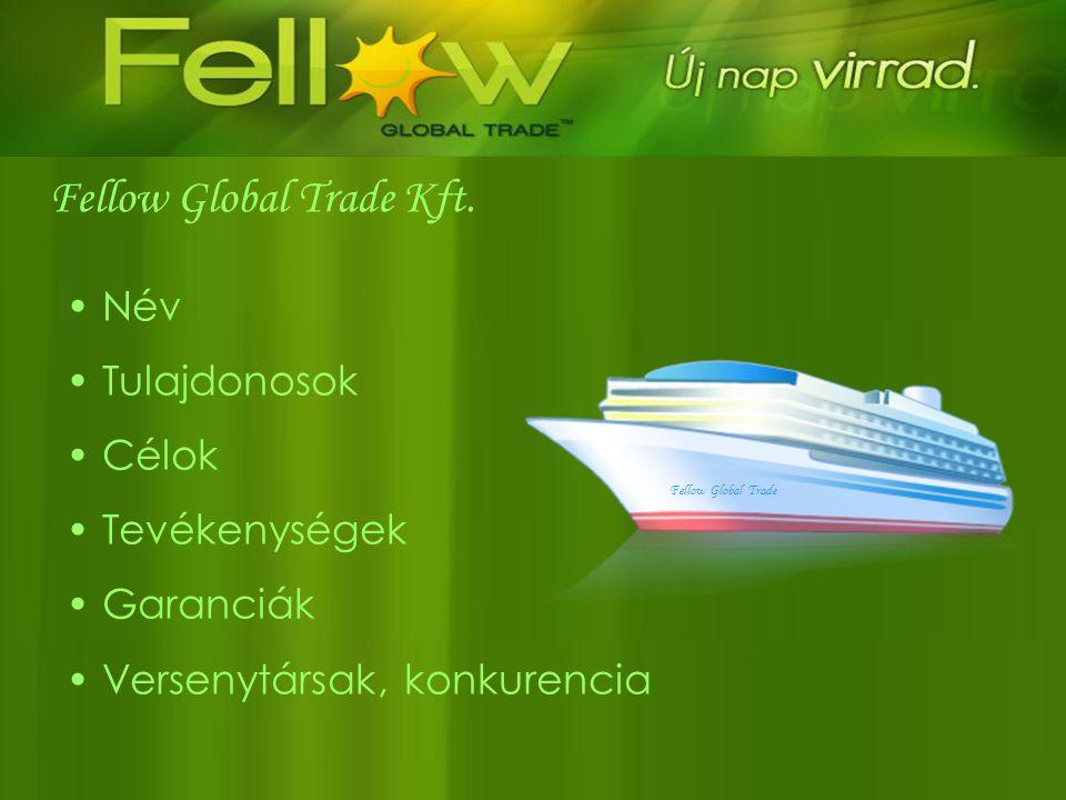 • Név • Tulajdonosok • Célok • Tevékenységek • Garanciák • Versenytársak, konkurencia Fellow Global Trade Kft. Fellow Global Trade