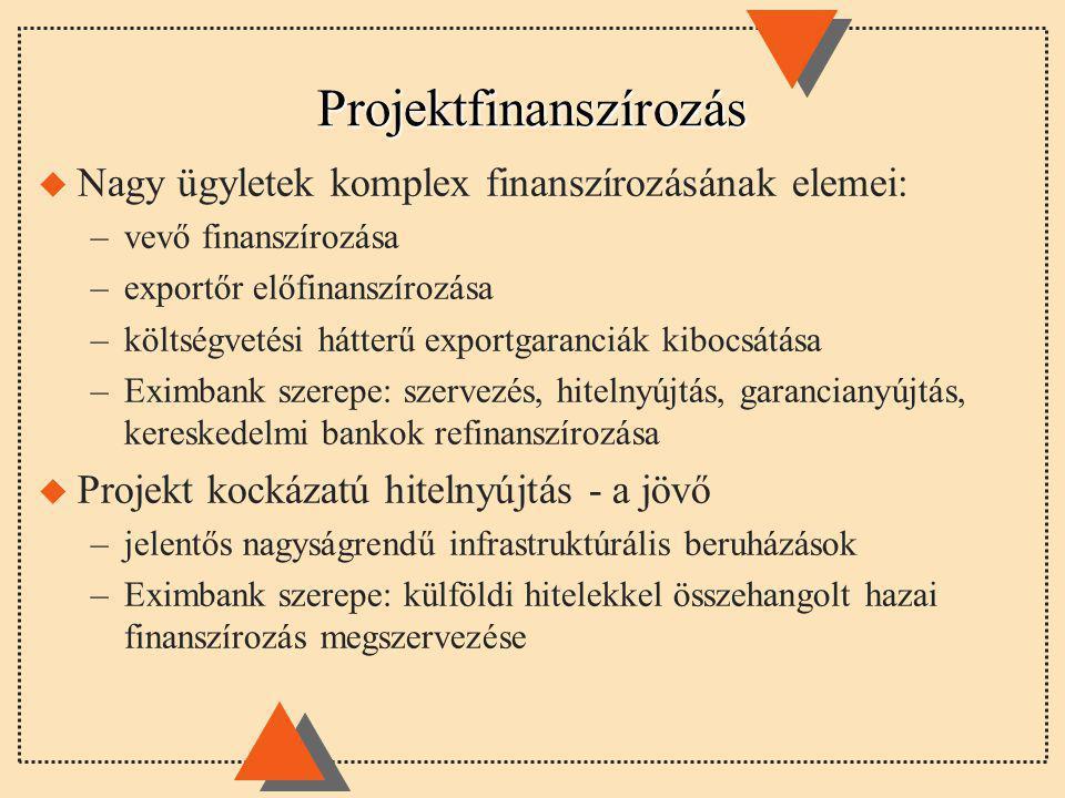 Projektfinanszírozás u Nagy ügyletek komplex finanszírozásának elemei: –vevő finanszírozása –exportőr előfinanszírozása –költségvetési hátterű exportgaranciák kibocsátása –Eximbank szerepe: szervezés, hitelnyújtás, garancianyújtás, kereskedelmi bankok refinanszírozása u Projekt kockázatú hitelnyújtás - a jövő –jelentős nagyságrendű infrastruktúrális beruházások –Eximbank szerepe: külföldi hitelekkel összehangolt hazai finanszírozás megszervezése