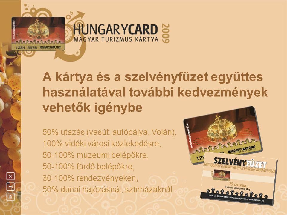 A kártya és a szelvényfüzet együttes használatával további kedvezmények vehetők igénybe 50% utazás (vasút, autópálya, Volán), 100% vidéki városi közle