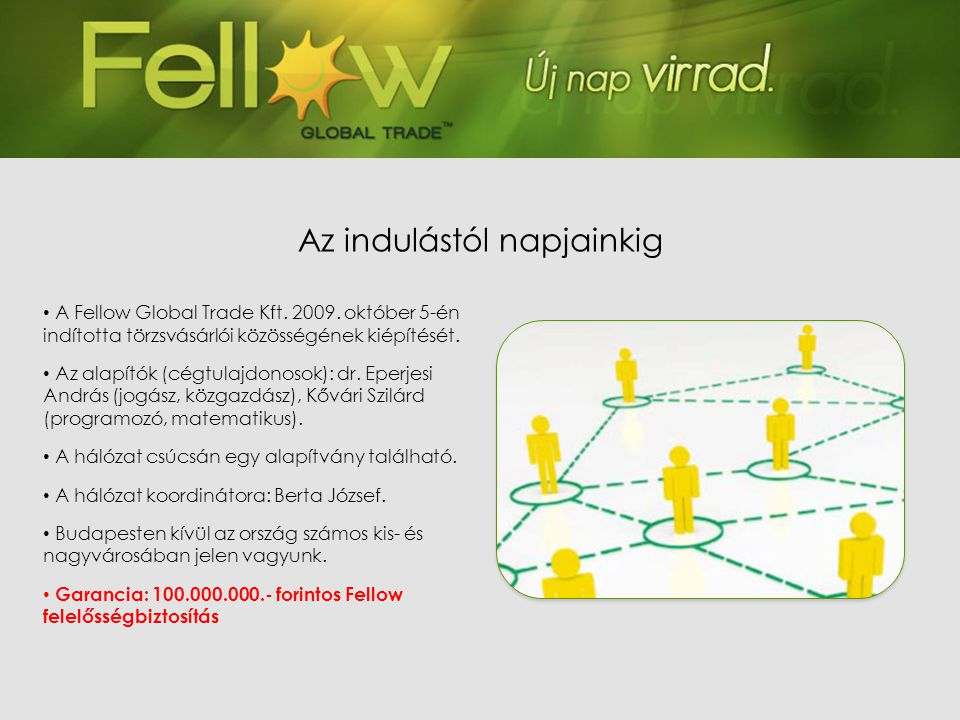 • A Fellow Global Trade Kft. 2009. október 5-én indította törzsvásárlói közösségének kiépítését. • Az alapítók (cégtulajdonosok): dr. Eperjesi András