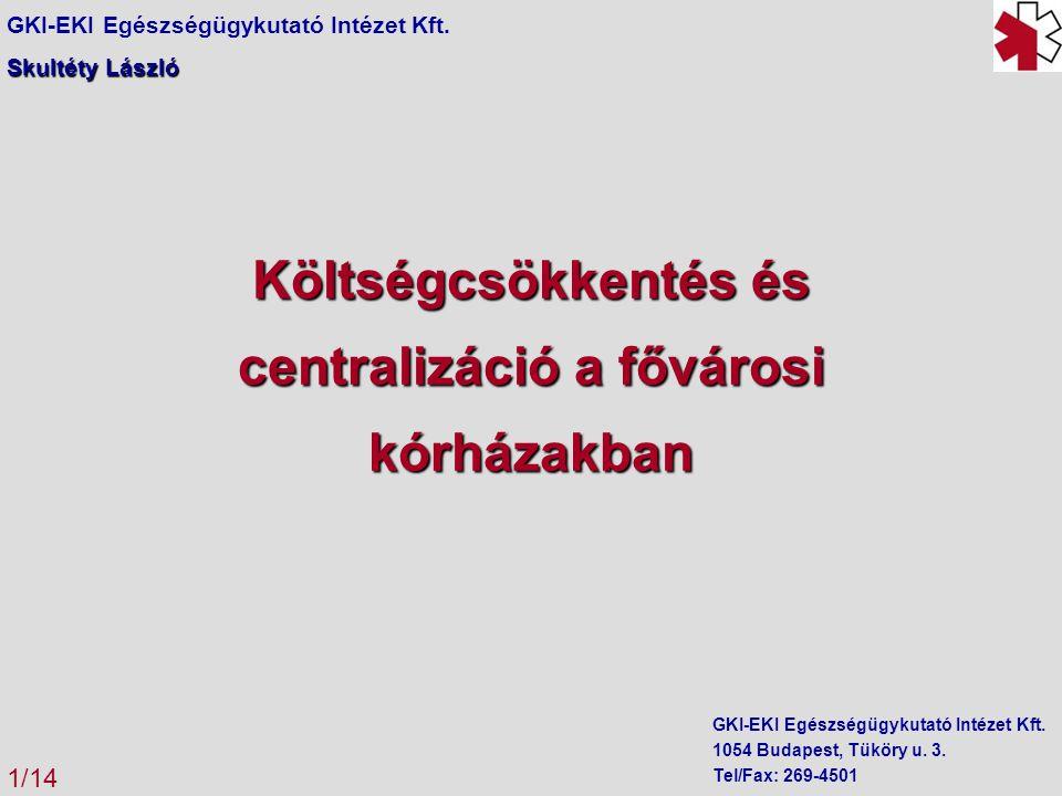 Költségcsökkentés és centralizáció a fővárosi kórházakban GKI-EKI Egészségügykutató Intézet Kft.