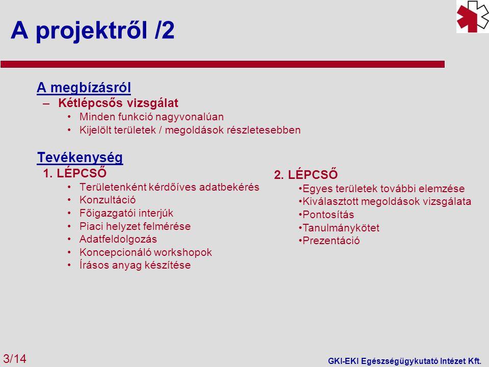 A projektről /2 A megbízásról –Kétlépcsős vizsgálat •Minden funkció nagyvonalúan •Kijelölt területek / megoldások részletesebben Tevékenység 1.