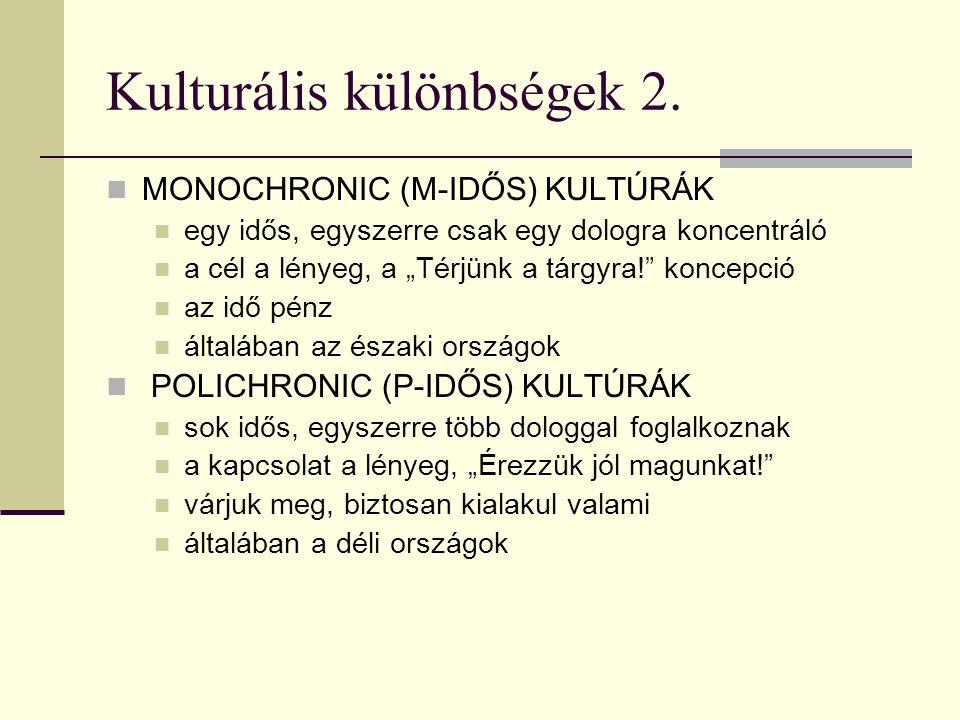 Kulturális különbségek 1.