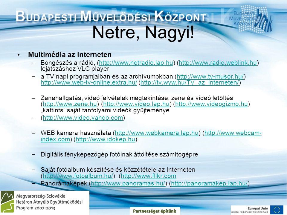 Netre, Nagyi! •Multimédia az interneten –Böngészés a rádió, (http://www.netradio.lap.hu) (http://www.radio.weblink.hu) lejátszáshoz VLC playerhttp://w