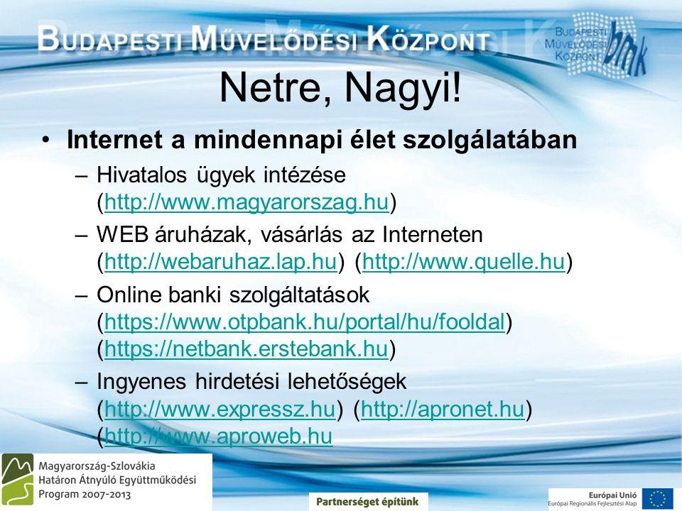 Netre, Nagyi! •Internet a mindennapi élet szolgálatában –Hivatalos ügyek intézése (http://www.magyarorszag.hu)http://www.magyarorszag.hu –WEB áruházak