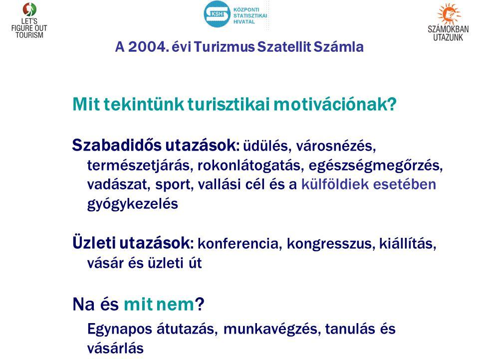 A 2004. évi Turizmus Szatellit Számla Mit tekintünk turisztikai motivációnak? Szabadidős utazások: üdülés, városnézés, természetjárás, rokonlátogatás,