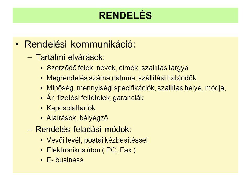 RENDELÉS •Rendelési kommunikáció: –Tartalmi elvárások: •Szerződő felek, nevek, címek, szállítás tárgya •Megrendelés száma,dátuma, szállítási határidők