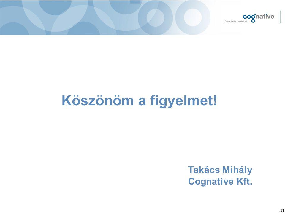 31 Köszönöm a figyelmet! Takács Mihály Cognative Kft.