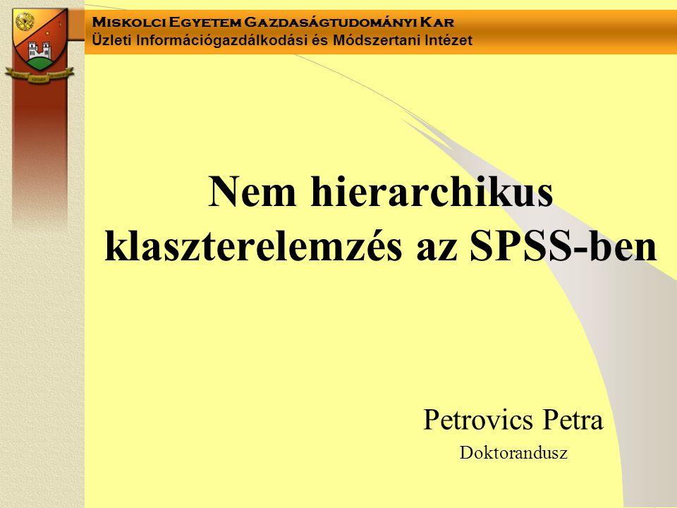 Miskolci Egyetem Gazdaságtudományi Kar Üzleti Információgazdálkodási és Módszertani Intézet Nem hierarchikus klaszterelemzés az SPSS-ben Petrovics Pet