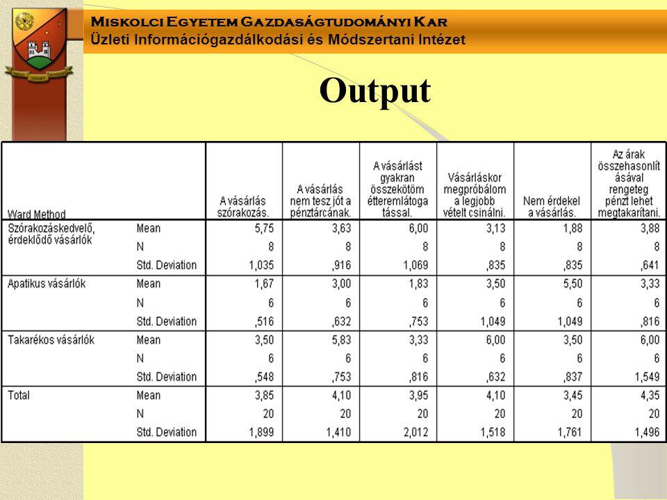 Miskolci Egyetem Gazdaságtudományi Kar Üzleti Információgazdálkodási és Módszertani Intézet Output