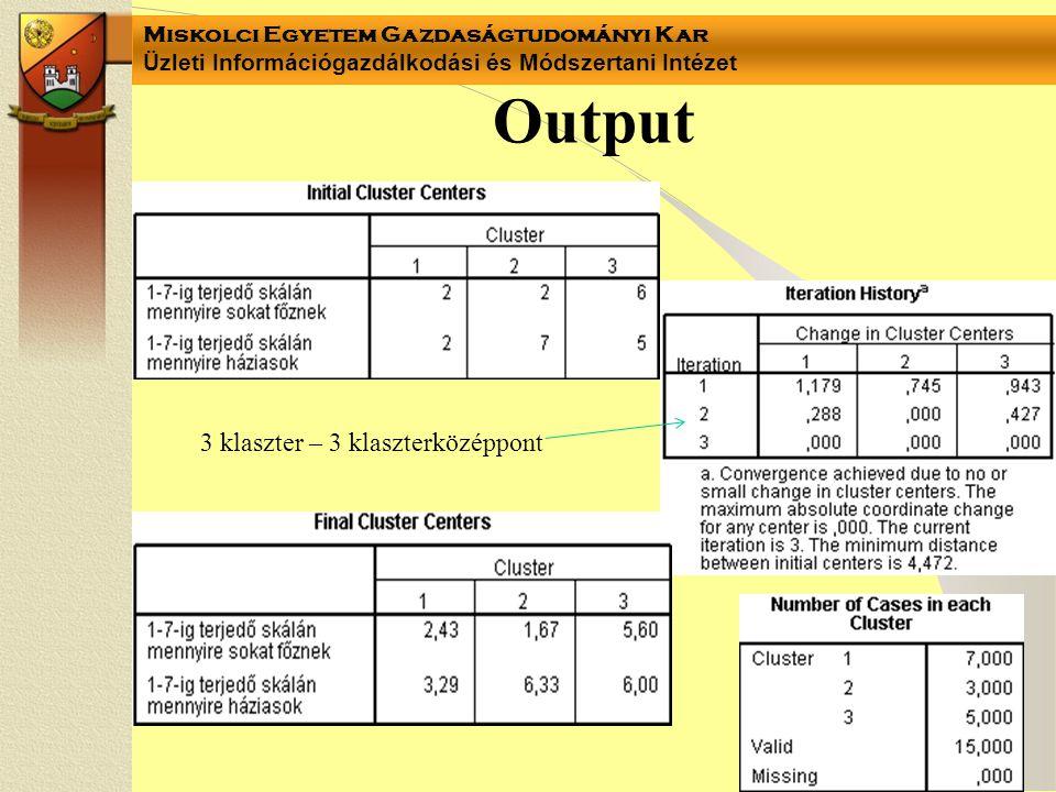 Miskolci Egyetem Gazdaságtudományi Kar Üzleti Információgazdálkodási és Módszertani Intézet Output 3 klaszter – 3 klaszterközéppont