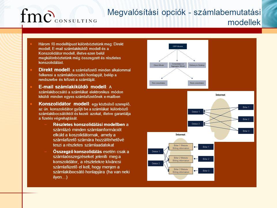 Megvalósítási opciók - számlabemutatási modellek  Három fő modelltípust különböztetünk meg: Direkt modell, E-mail számlakiküldő modell és a Konszolidátor modell, illetve ezen belül megkülönböztetünk még összegzett és részletes konszolidálást.