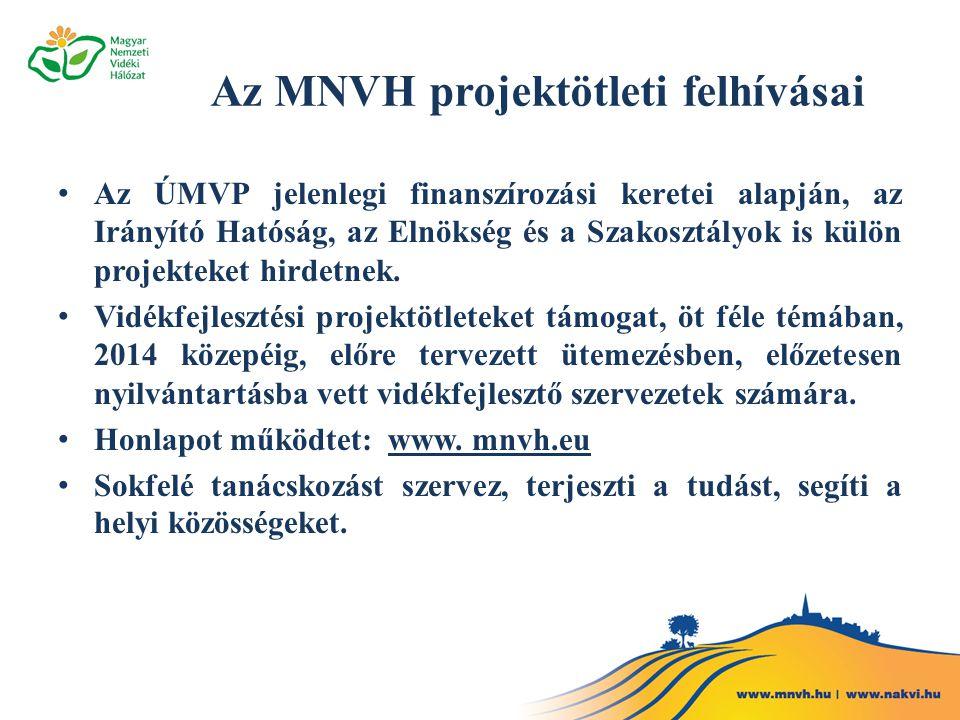Az MNVH projektötleti felhívásai • Az ÚMVP jelenlegi finanszírozási keretei alapján, az Irányító Hatóság, az Elnökség és a Szakosztályok is külön projekteket hirdetnek.