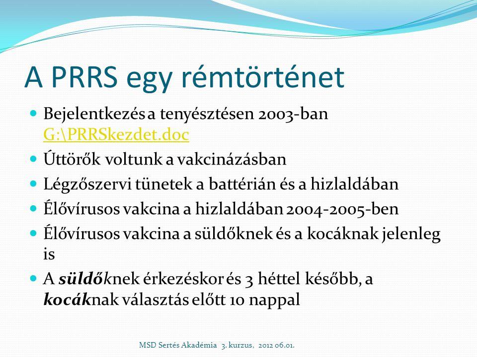 A PRRS egy rémtörténet  Bejelentkezés a tenyésztésen 2003-ban G:\PRRSkezdet.doc G:\PRRSkezdet.doc  Úttörők voltunk a vakcinázásban  Légzőszervi tünetek a battérián és a hizlaldában  Élővírusos vakcina a hizlaldában 2004-2005-ben  Élővírusos vakcina a süldőknek és a kocáknak jelenleg is  A süldőknek érkezéskor és 3 héttel később, a kocáknak választás előtt 10 nappal MSD Sertés Akadémia 3.