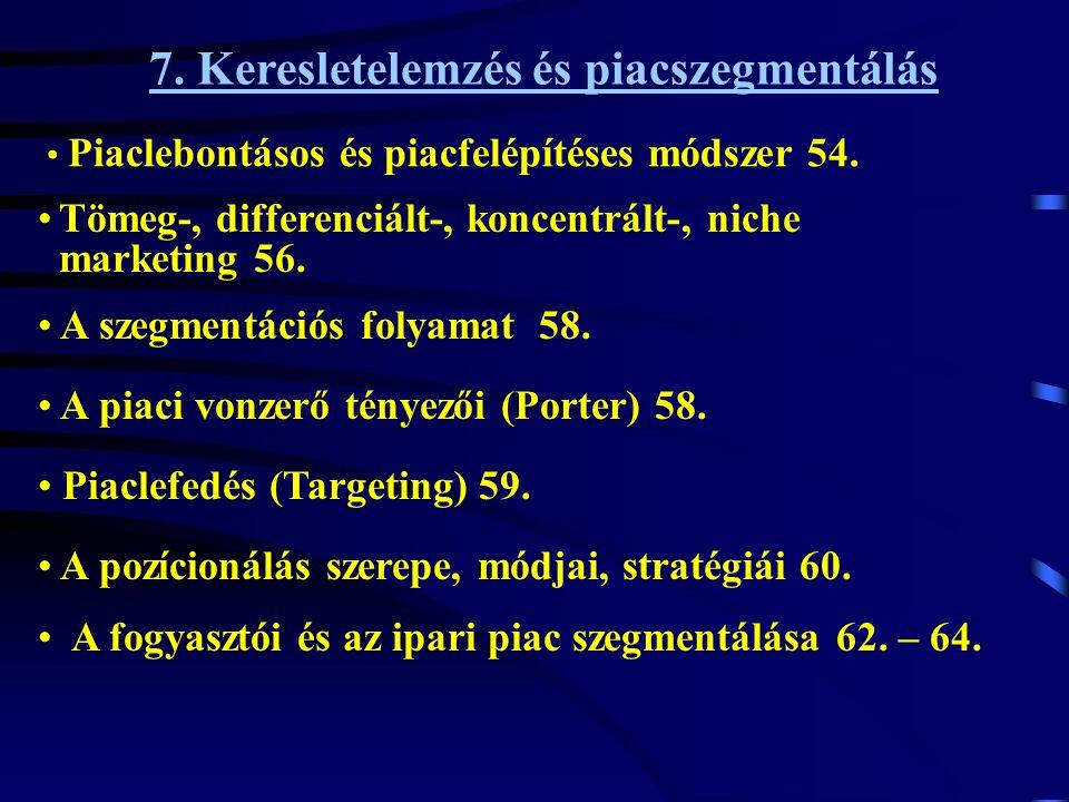 7. Keresletelemzés és piacszegmentálás • Piaclebontásos és piacfelépítéses módszer 54. •A fogyasztói és az ipari piac szegmentálása 62. – 64. • A pozí