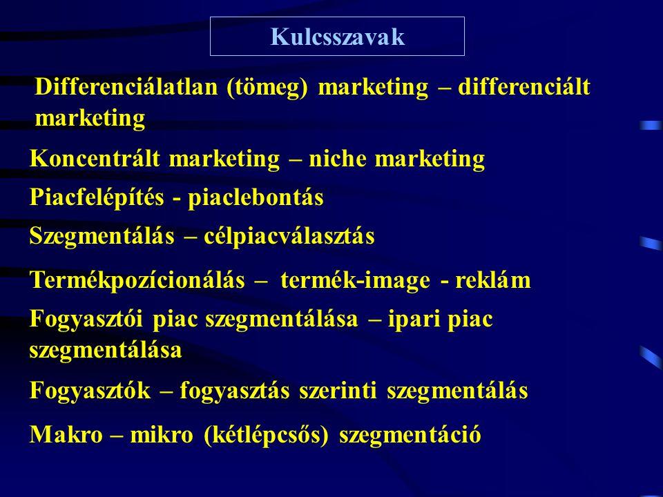 Kulcsszavak Piacfelépítés - piaclebontás Szegmentálás – célpiacválasztás Differenciálatlan (tömeg) marketing – differenciált marketing Koncentrált mar