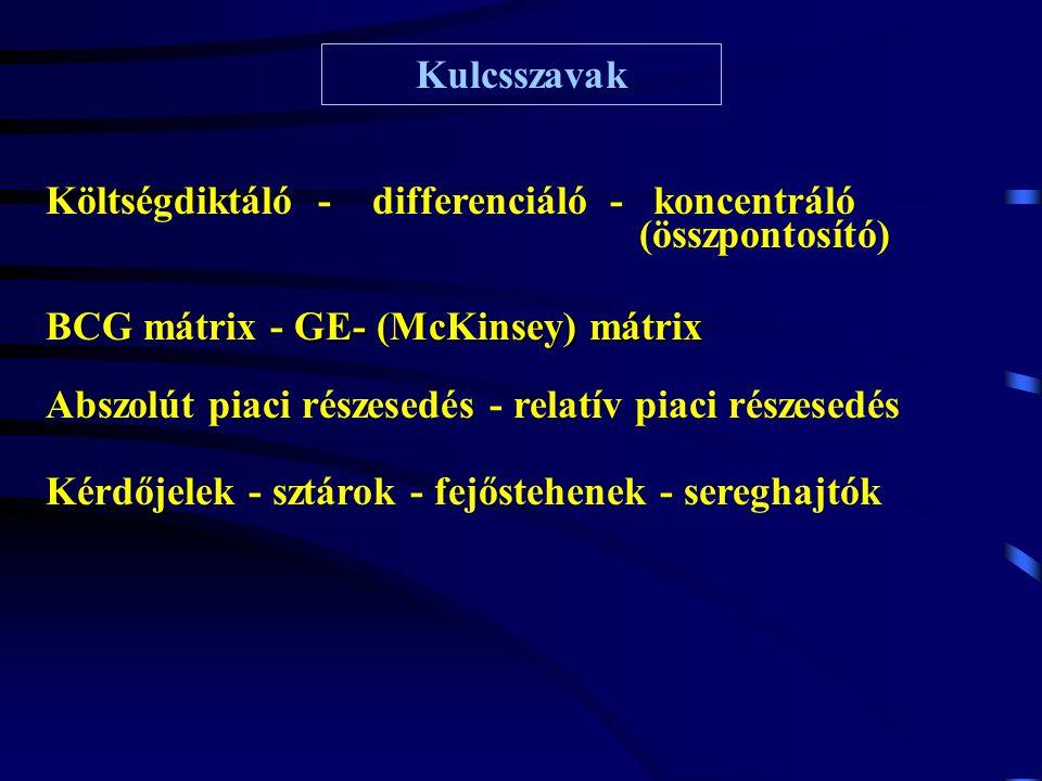 Kulcsszavak Költségdiktáló - differenciáló - koncentráló (összpontosító) GE- (McKinsey) mátrix BCG mátrix - GE- (McKinsey) mátrix Kérdőjelek - sztárok