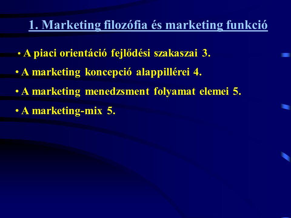 1. Marketing filozófia és marketing funkció • A piaci orientáció fejlődési szakaszai 3. • A marketing-mix 5. • A marketing koncepció alappillérei 4. •