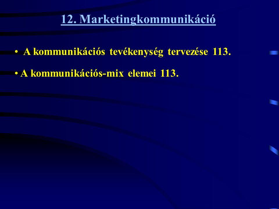 12. Marketingkommunikáció • A kommunikációs tevékenység tervezése 113. • A kommunikációs-mix elemei 113.