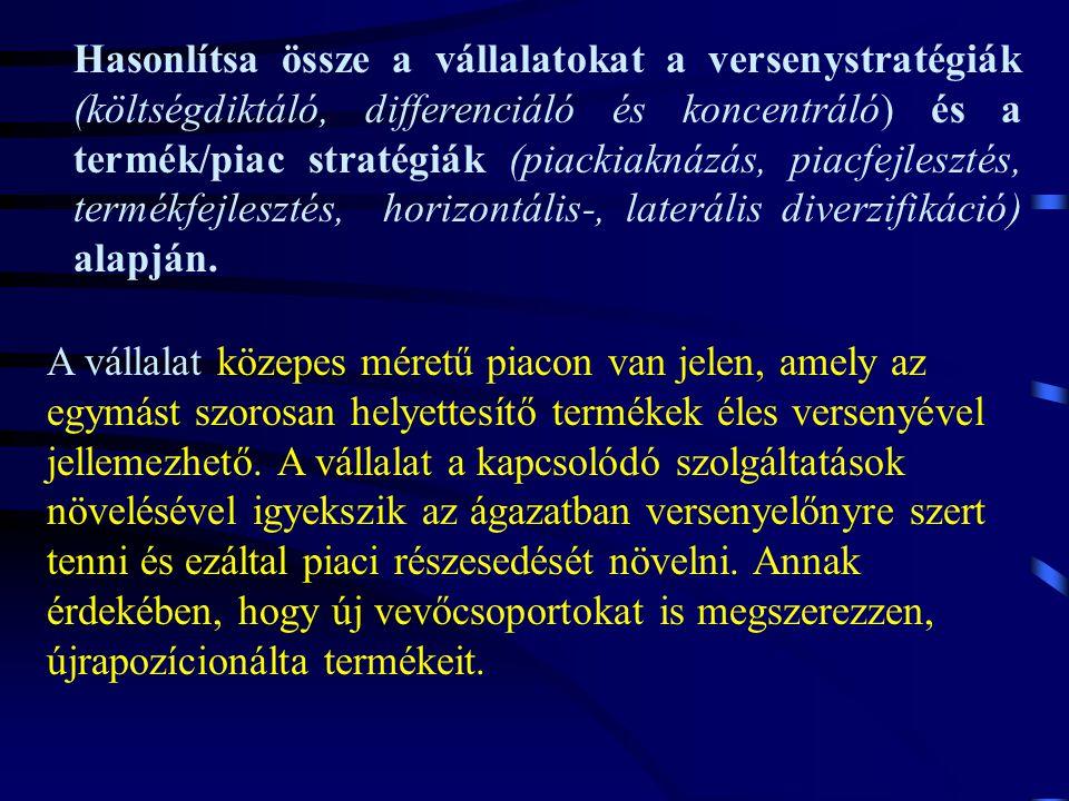 Hasonlítsa össze a vállalatokat a versenystratégiák (költségdiktáló, differenciáló és koncentráló) és a termék/piac stratégiák (piackiaknázás, piacfej