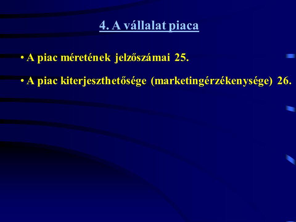 4. A vállalat piaca • A piac méretének jelzőszámai 25. • A piac kiterjeszthetősége (marketingérzékenysége) 26.