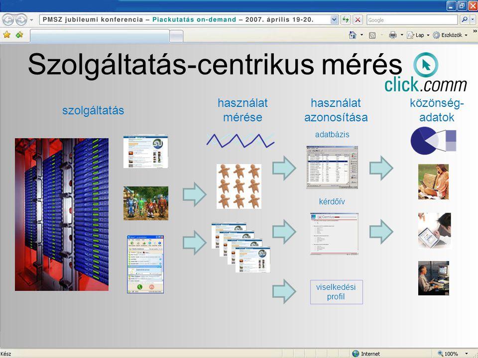 Szolgáltatás-centrikus mérés szolgáltatás használat mérése használat azonosítása kérdőív adatbázis viselkedési profil közönség- adatok
