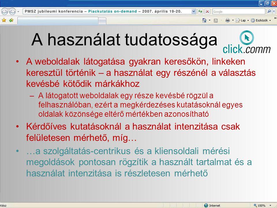 A használat tudatossága •A weboldalak látogatása gyakran keresőkön, linkeken keresztül történik – a használat egy részénél a választás kevésbé kötődik