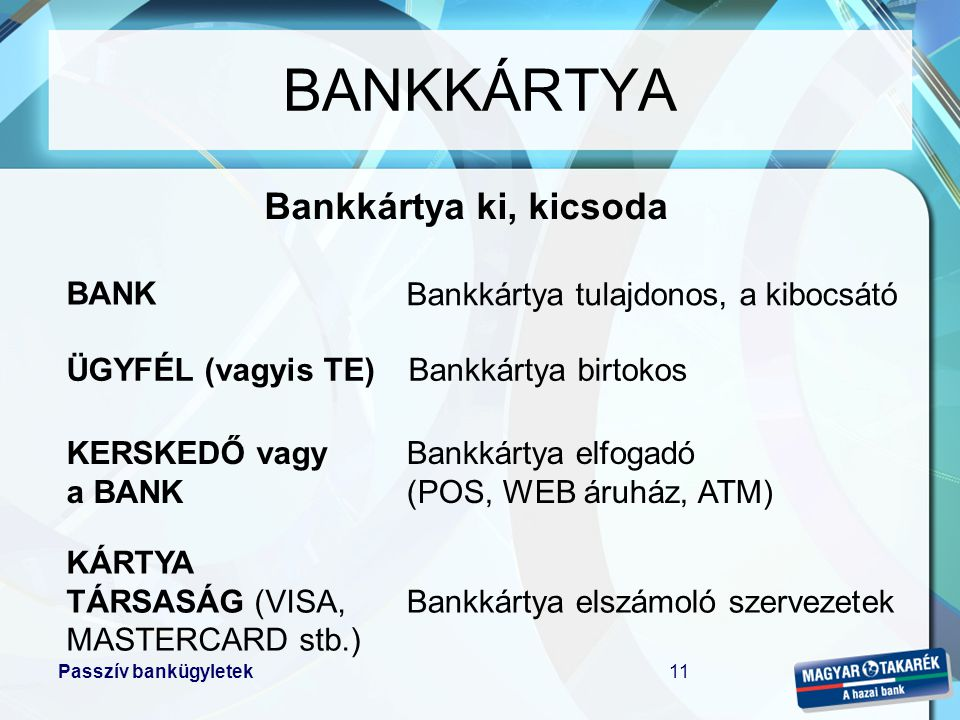 Passzív bankügyletek11 BANKKÁRTYA BANK ÜGYFÉL (vagyis TE) KERSKEDŐ vagy a BANK Bankkártya tulajdonos, a kibocsátó Bankkártya birtokos Bankkártya elfog