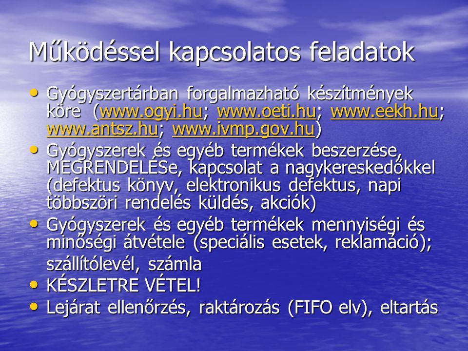Működéssel kapcsolatos feladatok • Gyógyszertárban forgalmazható készítmények köre (www.ogyi.hu; www.oeti.hu; www.eekh.hu; www.antsz.hu; www.ivmp.gov.